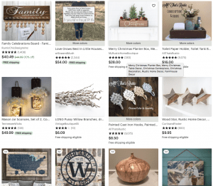 Etsy Website page with rustic items
