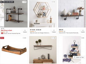Overstock Website page with rustic items