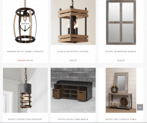 Shades of light website page with rustic items