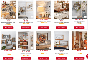 The Lakeside Collection website page with rustic items