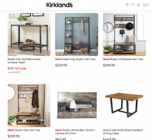 Kirkland's website page with rustic items