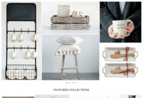 Vintage Farmhouse Finds website page with rustic items