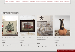 Nana's Farmhouse website page with rustic items