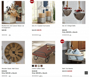 Country Door website page with rustic items