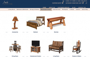 Amish Outlet Store website page with rustic items