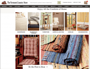 The Vermont Country Store website page with rustic items