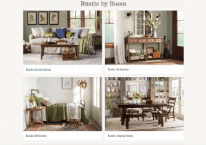 Birch Lane website page with rustic items