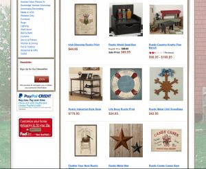 Sturbridge Yankee Workshop website page for rustic items