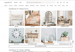 Hayneedle website page for rustic items