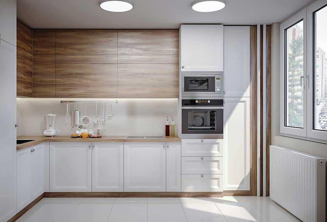 Sunny white modern domestic kitchen