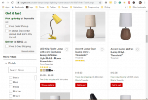 Target website product page for Lamps