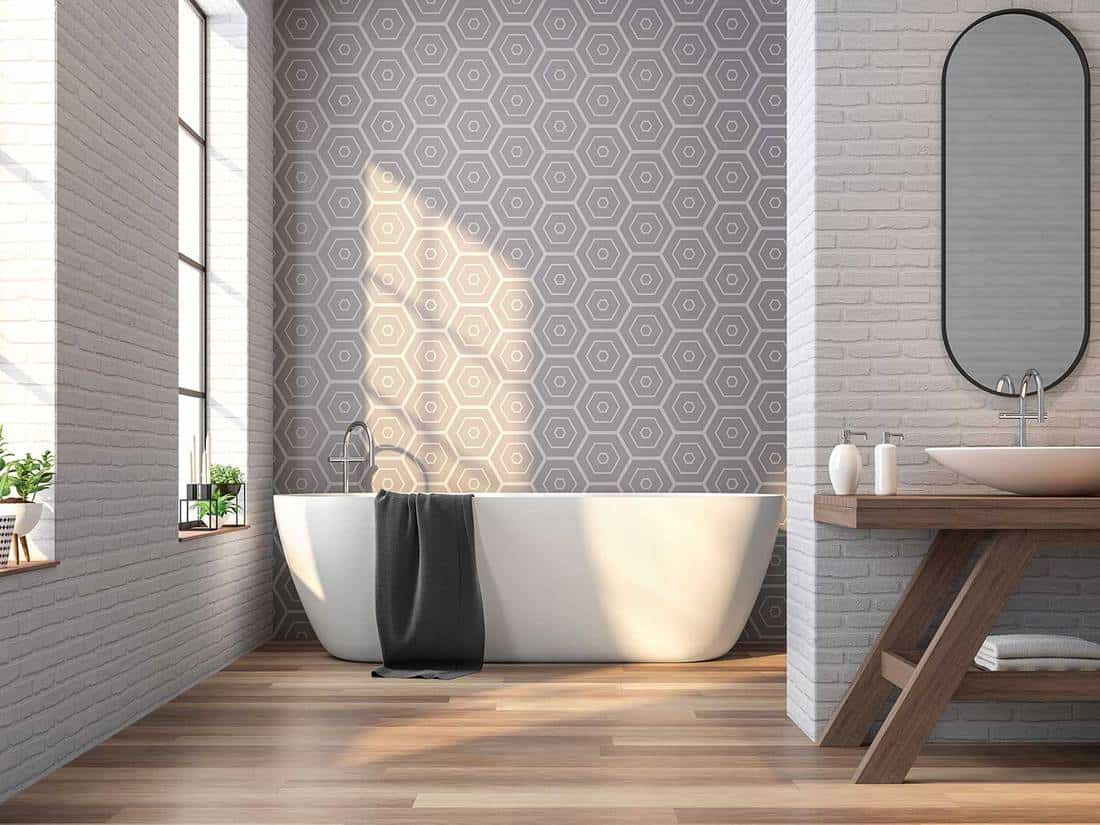Vintage bathroom white brick and gray tile wall