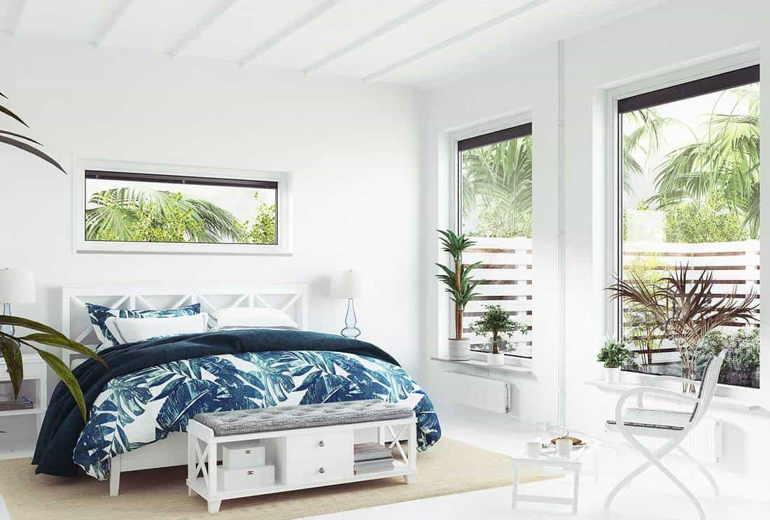White tropical bedroom interior