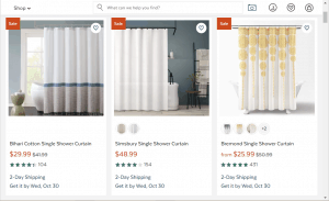 All Modern website product page for Shower curtains