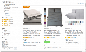 Bedsheets on Amazon's page.
