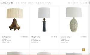 Arteriors website product page for Lamps