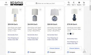 Bed, Bath, & Beyond website product page for Lamps