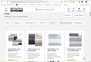 Bedsheets on bed bath and beyond's page.
