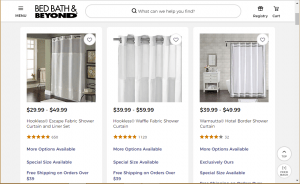 Bed, Bath, & Beyond website product page for Shower curtains