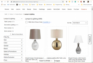 Belk website product page for Lamps