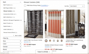Belk website product page for Shower curtains