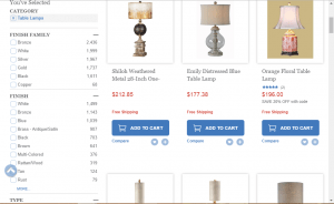 Bellacor website product page for Lamps