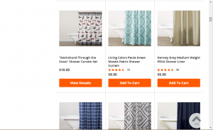 Overstock website product page for Shower curtains