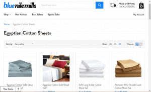 Bedsheets on blue nile mills's page.