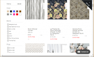 Burke Decor website product page for Shower curtains