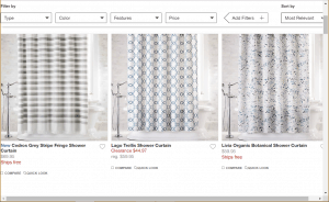 Crate and Barrel website product page for Shower curtains