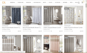 Designer Living website product page for Shower curtains