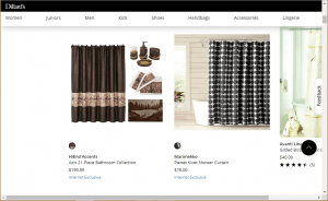Dillard's website product page for Shower curtains