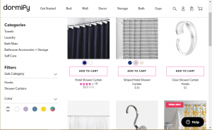Dormify website product page for Shower curtains