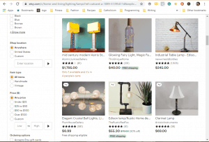 Etsy website product page for Lamps
