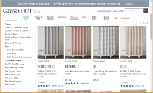 Garnett Hill website product page for Shower curtains