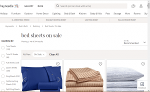 Bedsheets on Hayneedle's page.
