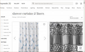 Hayneedle website product page for Shower curtains