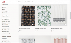 H&M Home website product page for Shower curtains