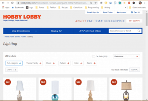 Hobby Lobby website product page for Lamps