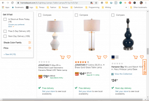 Home Depot website product page for Lamps