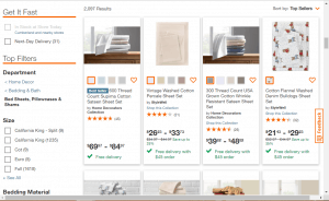 Bedsheets on home depot's page.