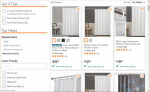 Home Depot website product page for Shower curtains
