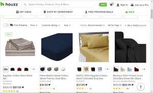 Bedsheets on Houzz's page.