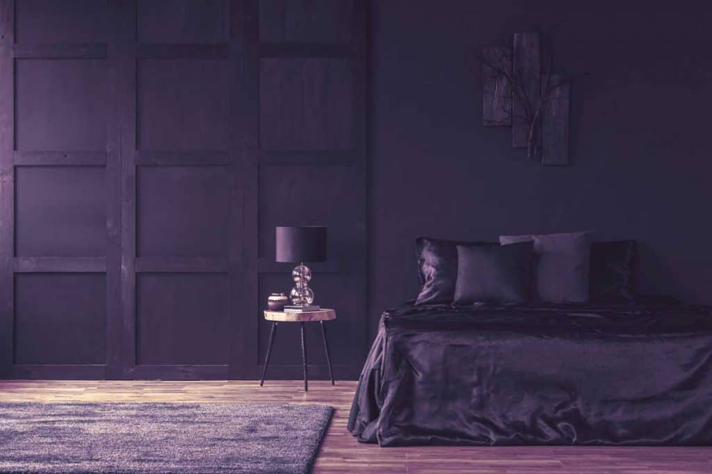 Dark themed bedroom with hardwood floors, black walls, bed and pillows