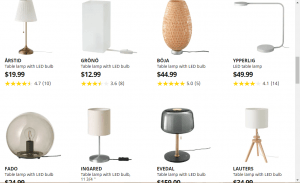 IKEA website product page for Lamps