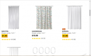 Ikea website product page for Shower curtains