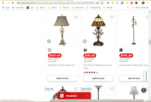JCPenney website product page for Lamps