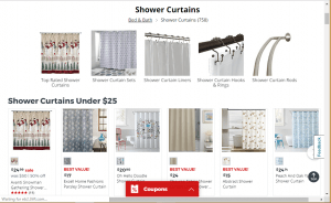 JCPenney website product page for Shower curtains