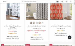 Joss and Main website product page for Shower curtains