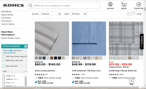 Bedsheets on kohl's page.
